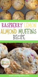 raspberry lemon almond muffins in baking pan