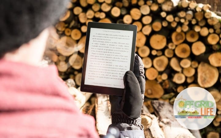 Person holding Kindle standing in front of a stack of firewood