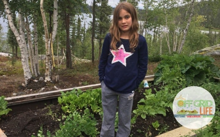 Child in her vegetable garden
