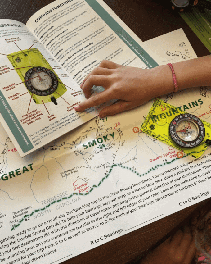 Kids studying parts of a compass learning navigation skills