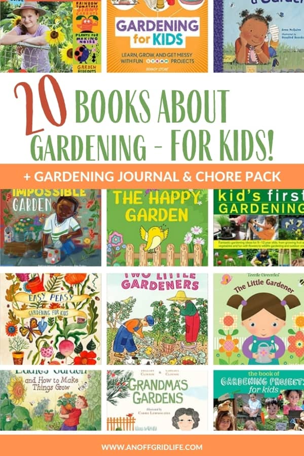 20 Books About Gardening for Kids text overlay on images of children's gardening books