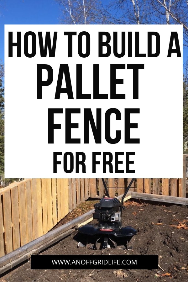 How to build a pallet fence for free text overlay on homemade pallet fence surrounding a garden with trees and sky in background