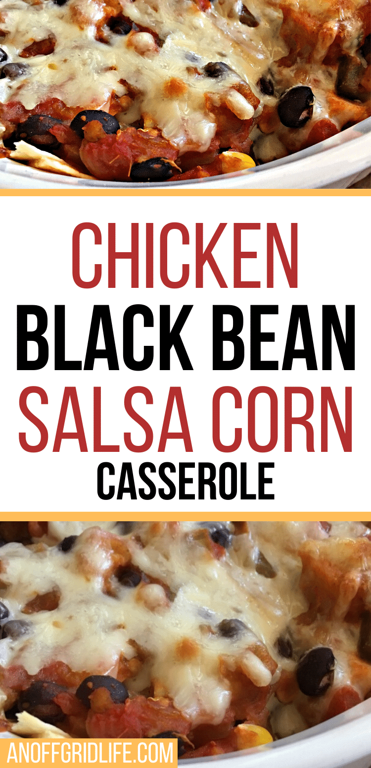 Text overlay on a chicken black bean salsa corn casserole