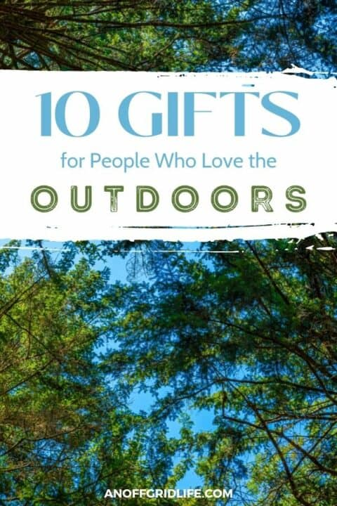 """a green forest canopy with a blue sky background and text overlay """"10 gifts for people who love the outdoors"""""""