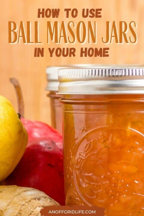 """a pinterest image of a glass ball mason jar filled with orange jelly. Text overlay """"how to use ball mason jars in your home"""""""