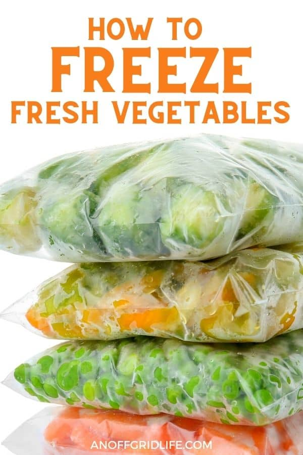 """a pinterest image of four stacks of frozen vegetables with text overlay """"how to freeze fresh vegetables"""""""