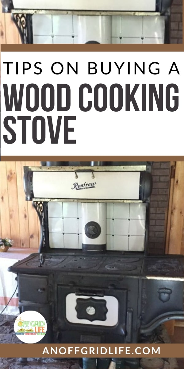 Text overlay and a wood cook stove