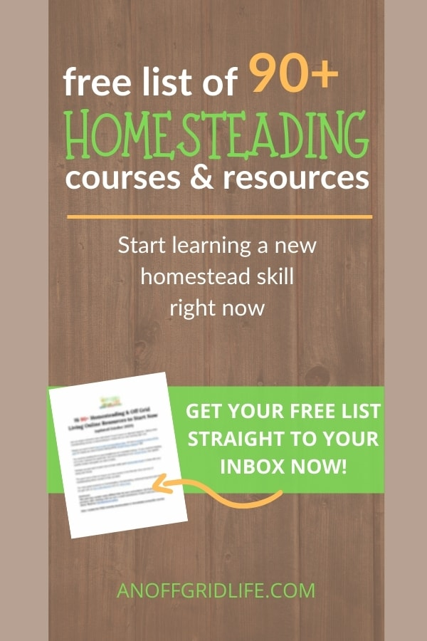 90+ Homesteading courses & resources text overlay on wooden background