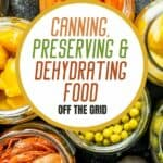 """a pinterest image of preservatives in glass jars with text overlay """"Canning preserving & dehydrating food off the grid"""""""