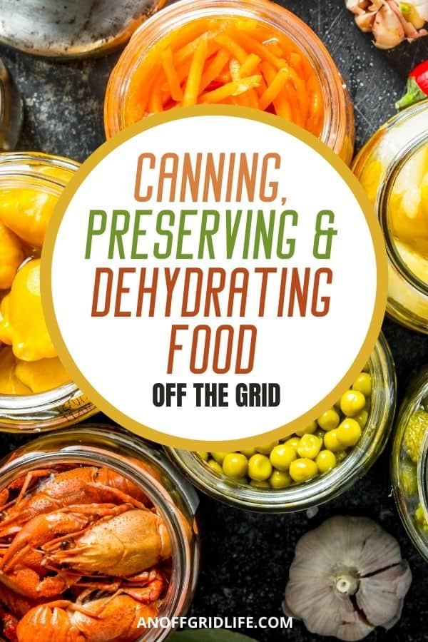 "a pinterest image of preservatives in glass jars with text overlay ""Canning preserving & dehydrating food off the grid"""