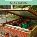 """a pinterest image of a wooden cold frame garden with green gardening gloves and empty pots inside. Text overlay """"cold frame gardening, 5 diy ideas"""""""