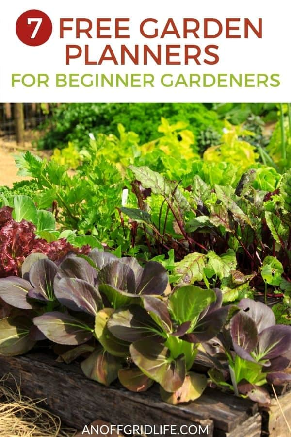 "a pinterest image of a full vegetable garden with dark green and purple lettuces, text overlay ""7 free garden planners for beginner gardeners"""