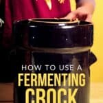 """a picture of a black stone fermenting crock and a woman using a wooden spoon to fill it. Text overlay """"how to use a fermenting crock"""""""