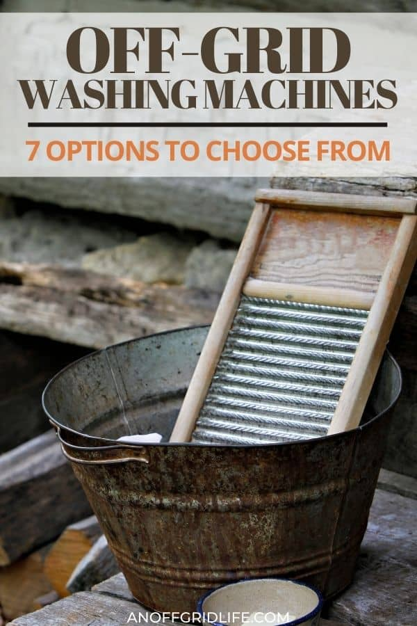 a pinterest image of an old-fashioned washboard in a steel washbin.