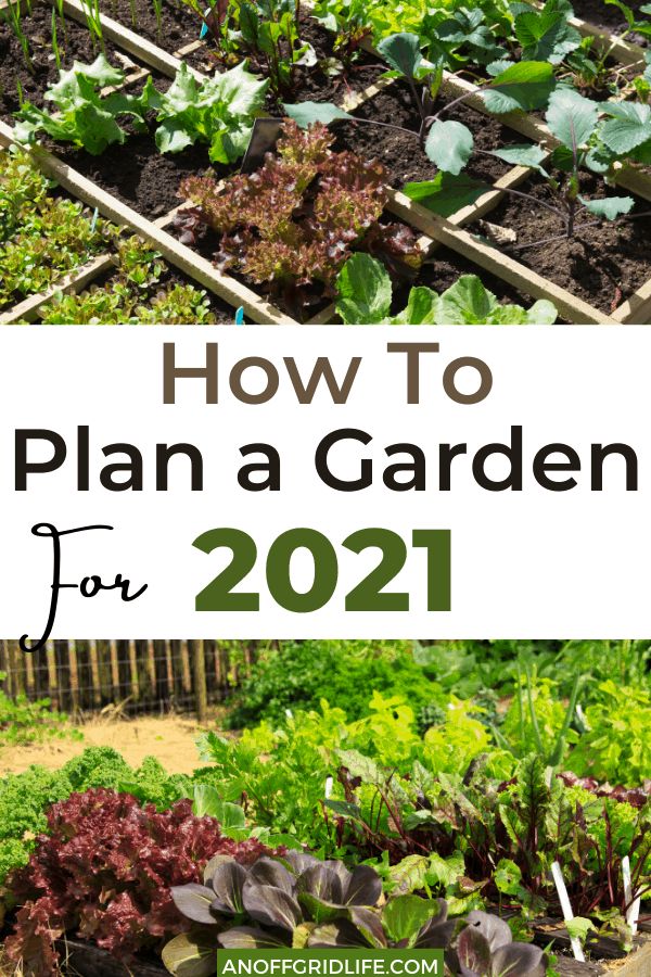 Text overlay of How to Plan a Garden for 2021 on a pinterest image of a vegetable garden