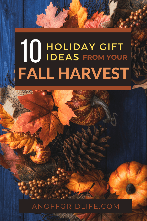 A pinterest image with the title 10 holiday gift ideas from your fall harvest, written on an orange and brown fall wreath on a dark blue wooden door.