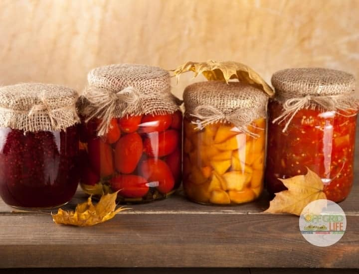 Row of mason jars with tomatoes, squash, and salsa on a wooden tabletop