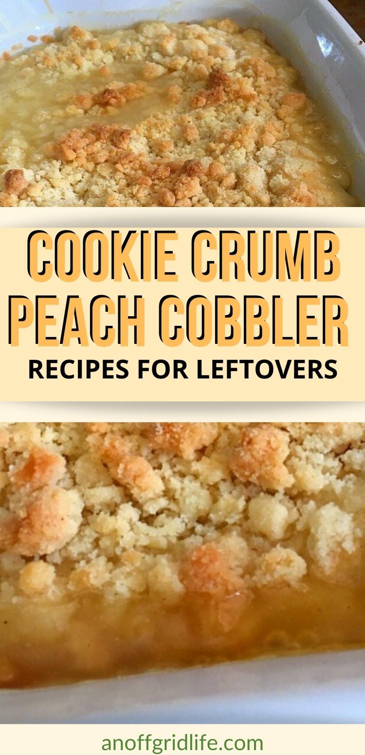 cookie crumb peach cobbler in a dish