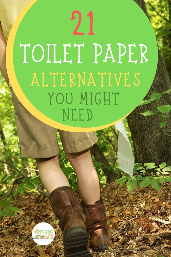 Toilet paper alternatives text overlay on woman walking in woods holding toilet paper roll