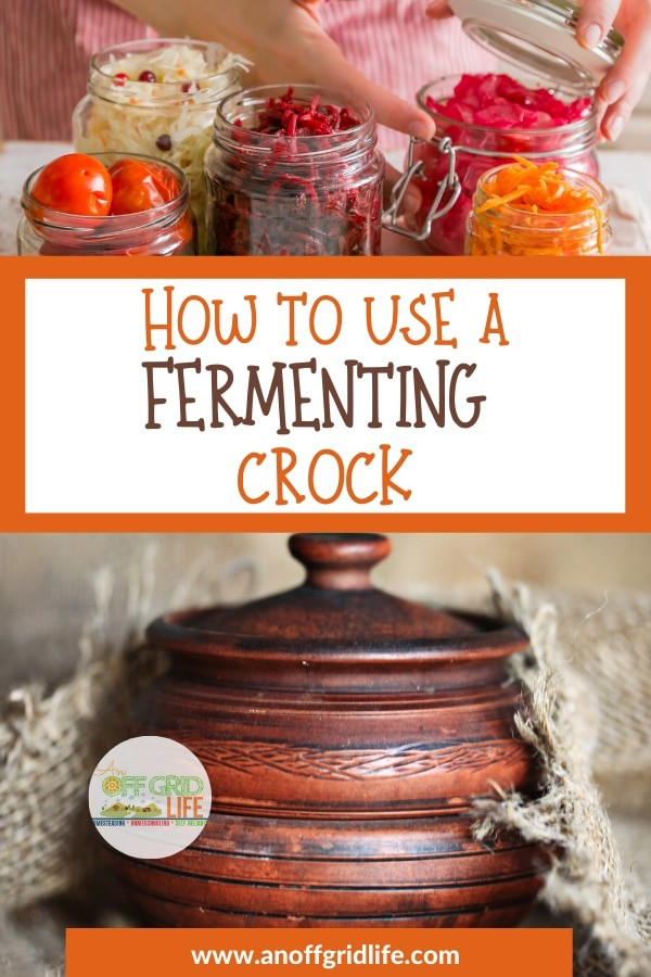 Fermenting crock and mason jars with vegetables