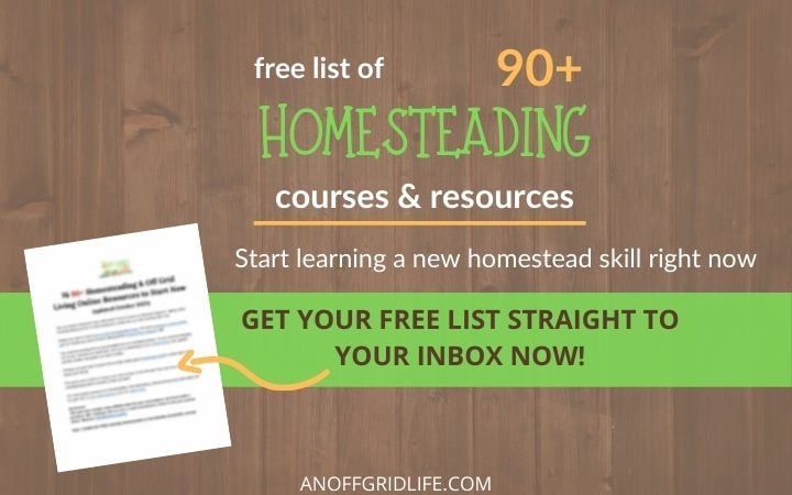 Free list of 90+ homesteading courses and resources text overlay on a wooden background