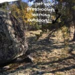 Simple Nature Lessons for Preschoolers text overlay on image of Canadian boreal forest with rocks