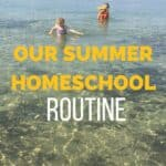 Our Summer Homeschool Schedule text overlay on children outdoors in the summer