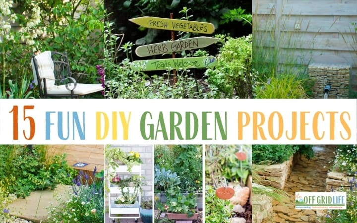 15 Fun DIY Garden Projects text overlay on image of garden projects