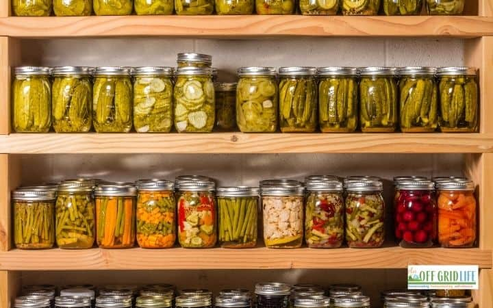 several shelves with mason jars filled with pickles, tomatoes and other preserves.