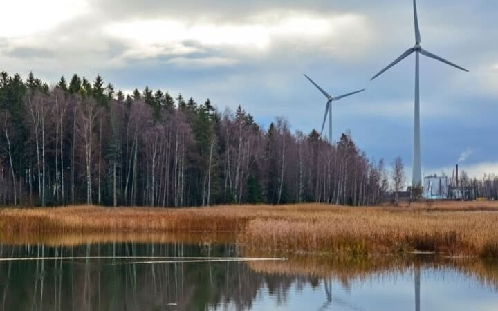 Wind turbines over trees