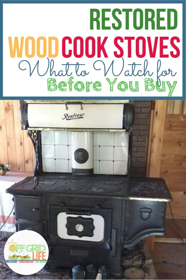 Restored antique wood cook stove in a log cabin