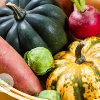 Acorn Squash, brussels sprouts and fall vegetables