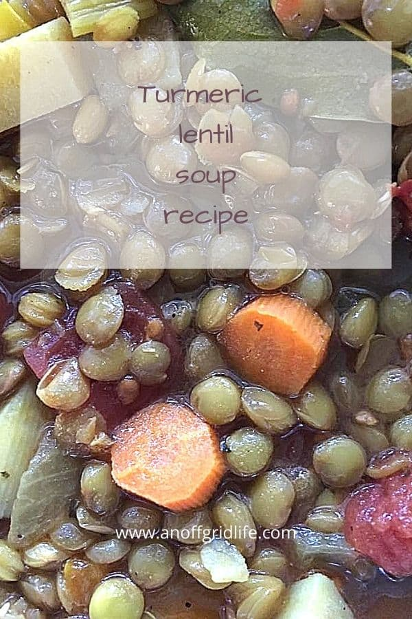Lentil Vegetable Soup Recipe text ovrlay on lentil vegetable soup in a bowl