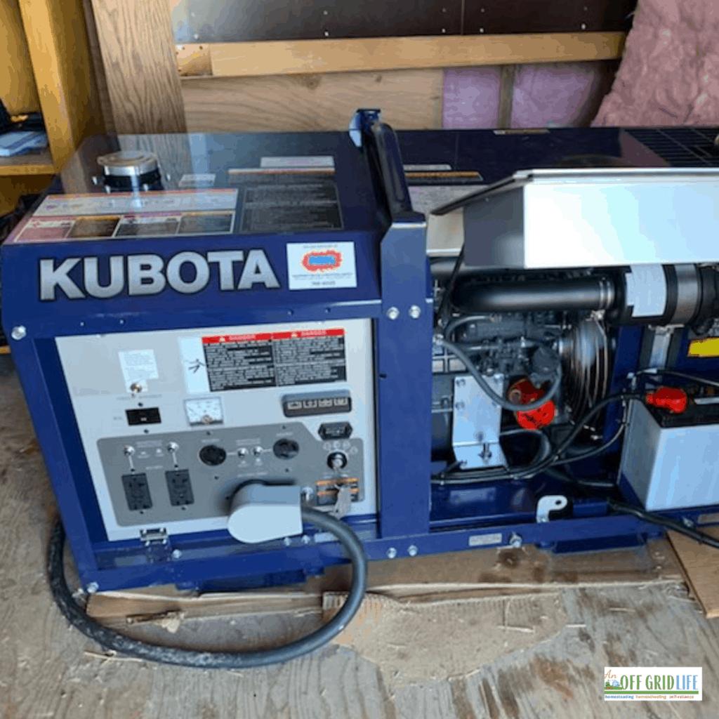 a kubota generator in an outdoor generator shed