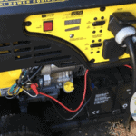 Closeup of a portable gasoline generator.