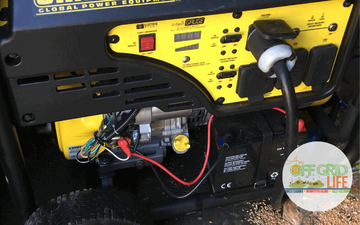 Closeup of a portable gasoline generator.