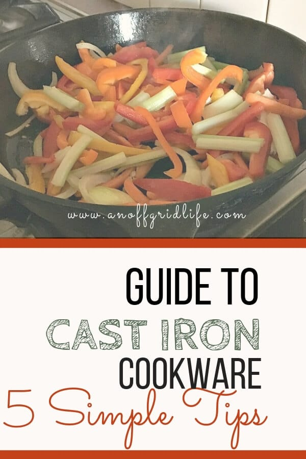 This guide to cast iron cookware gives five simple tips for beginners. #castiron #castironcleaning #castironseasoning #castironskillet