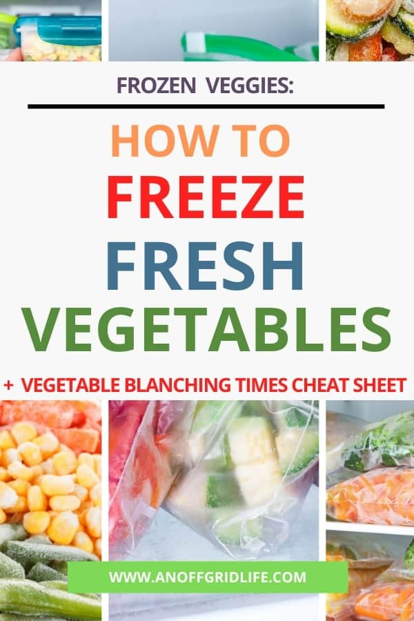 Text overlay: Frozen veggies: How to Freeze Fresh Vegetables + Vegetable blanching cheat sheet over collage of frozen vegetable images