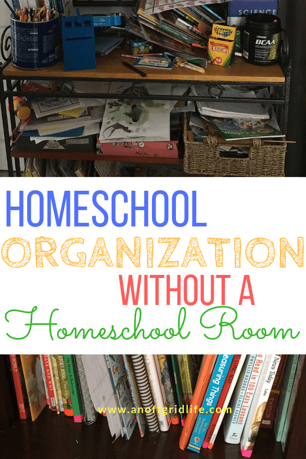 Tips to keep your homeschool organized when you don't have a homeschool room. #homeschoolorganize #homeschoollife #homeschoolideas