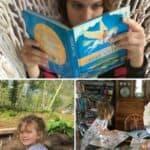 Children reading in hammock, working in garden and doing art