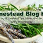 Homestead Blog Hop text overlay on bowl of wild lavendar