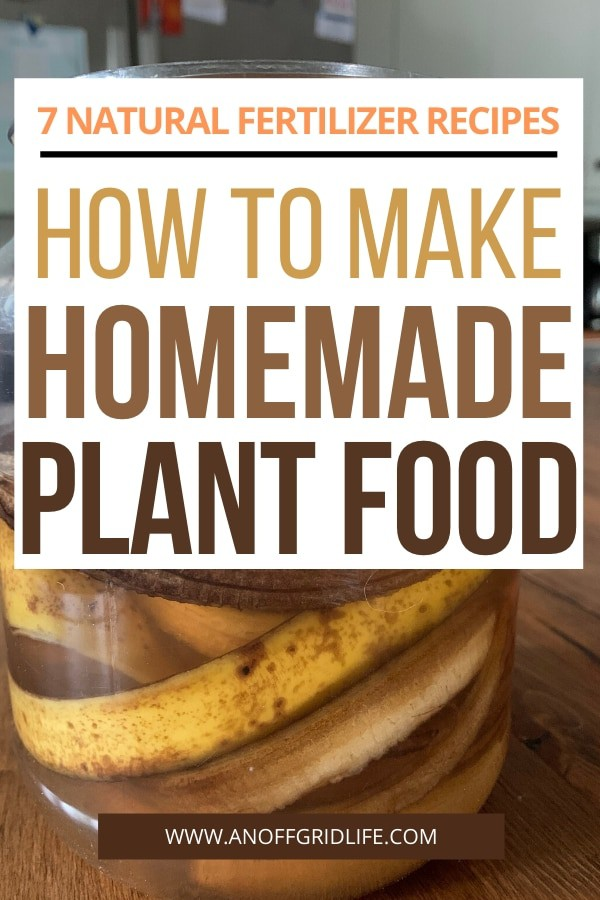 Text overlay of How to Make Homemade Plant Food: 7 Easy Natural Fertilizer Recipes over image of banana peels in a jar of water on a wooden counter