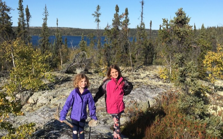 Kids outdoors in boreal forest