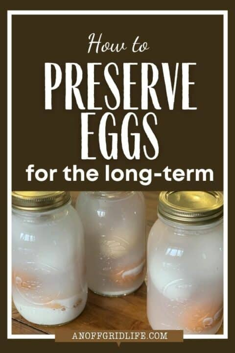 How to Preserve Eggs for The Long Term text overlay on image of water-glassed eggs in mason jars