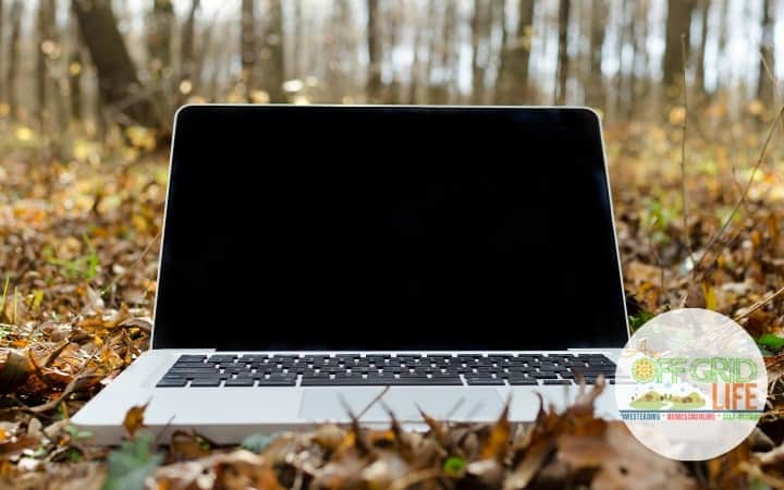 Laptop on leaves in a forest
