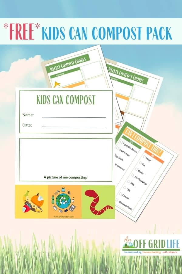 Kids Can Compost printable sheets on a cloud background