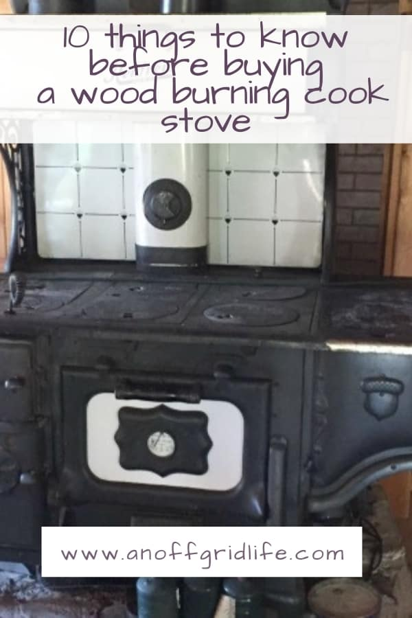 Wood burning cookstove in a log cabin