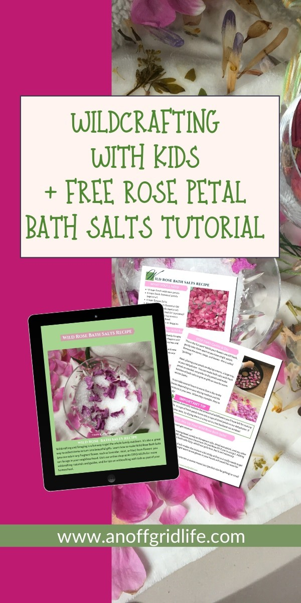 Rose petals and bath salts with text overlay