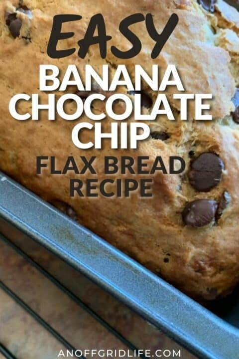 """a pinterest image of a banana chocolate chip bread loaf with text overlay """"easy banana chocolate chip flax bread recipe"""""""