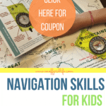 Kids learning navigation skills using a compass from Think Outside Boxes Outdoor Adventure Box.